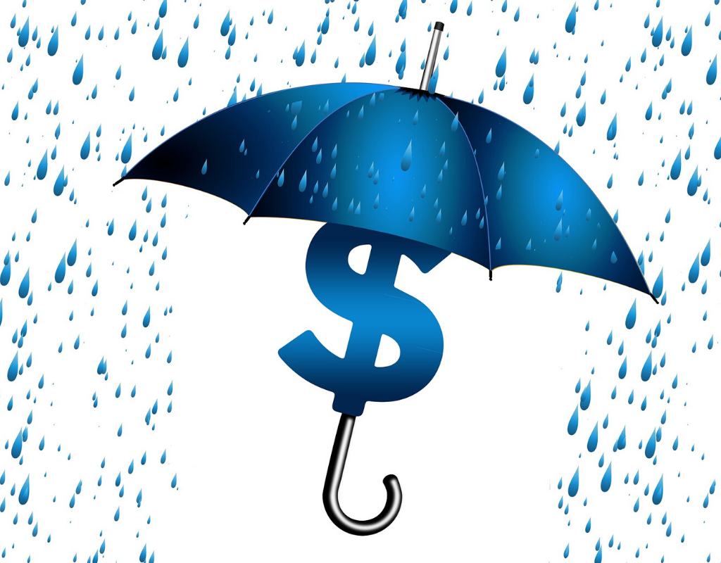 A blue umbrella and a dollar sign inside with raining effects