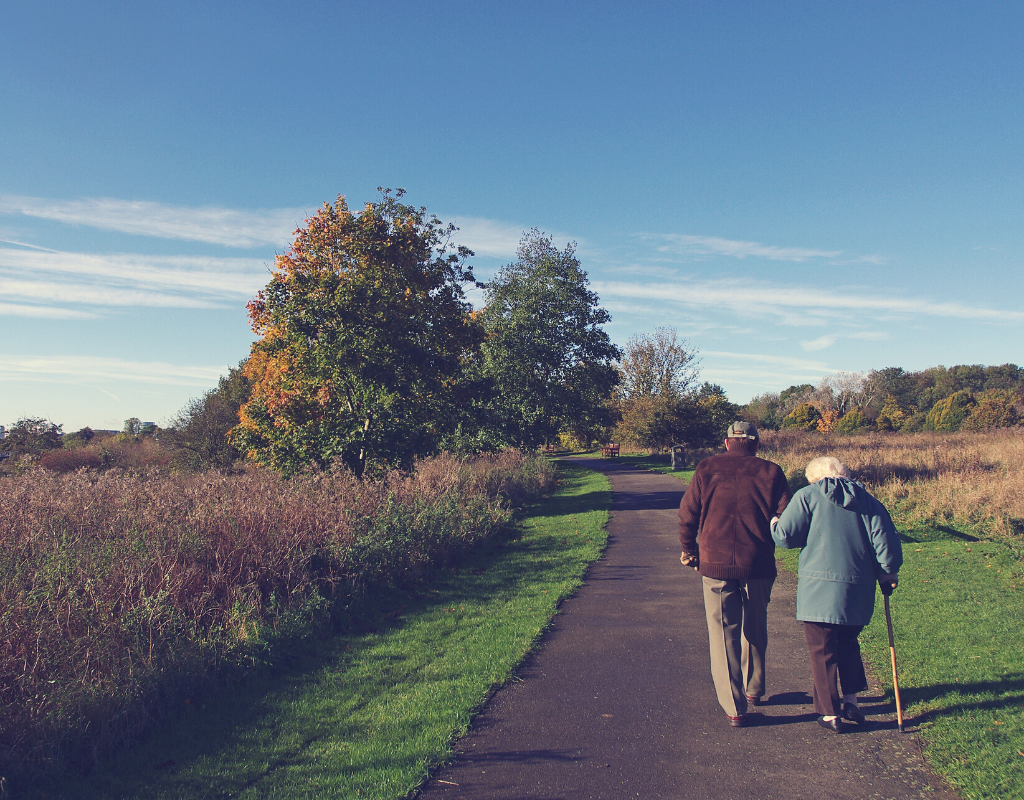 Old couple walking in a rural area