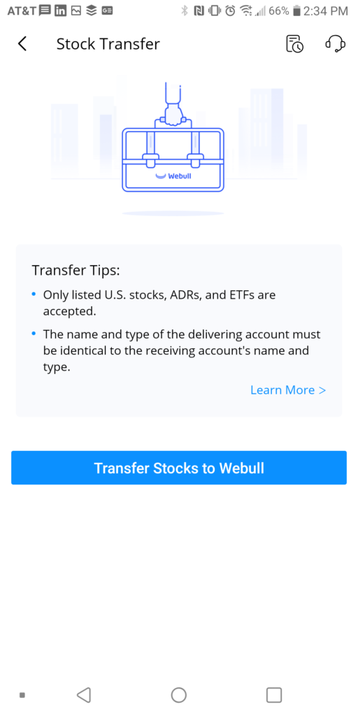 Transfer Stocks to Webull