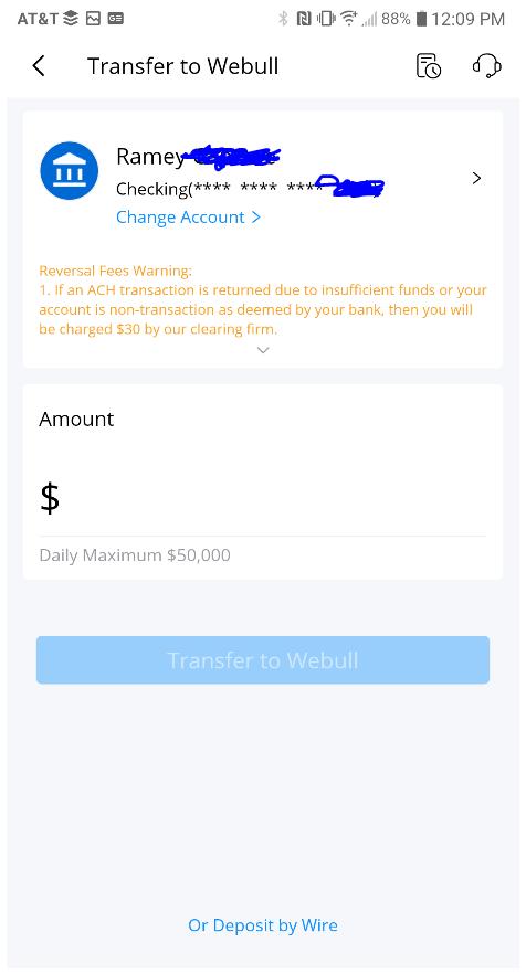 Deposit to Webull