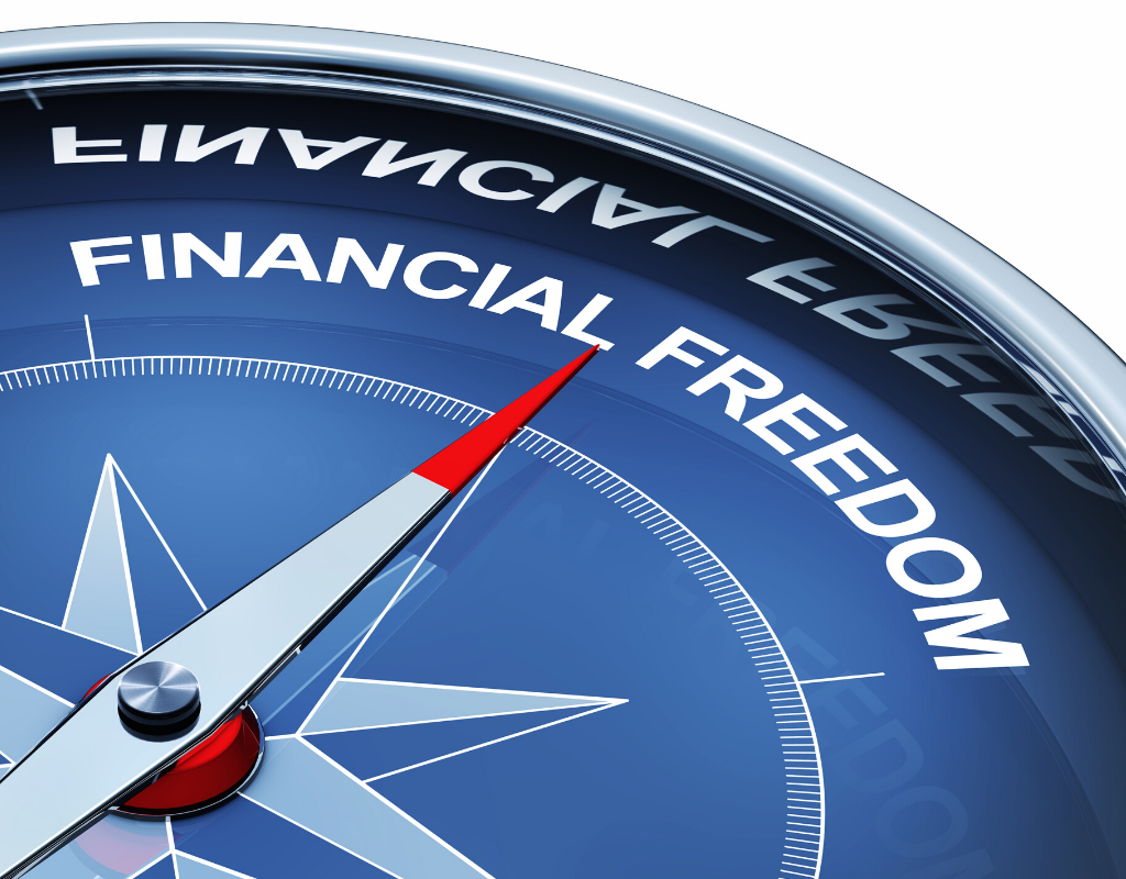 3D rendering of a compass with the words financial freedom