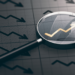 3D illustration of a magnifying glass over a golden positive chart symbol.
